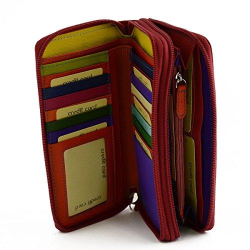Vera Accessori 2 Colore Scomparti Da Portafoglio Donna Rosso Pelle Made Italy In Pelletteria Toscana tRwt1O