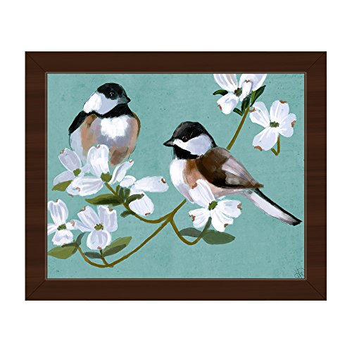 (Two Chickadees on Teal: Painting of 2 Chickadee Birds on Flowering Dogwood Tree Branch on Aqua Blue Wall Art Print on Canvas with Espresso Frame)