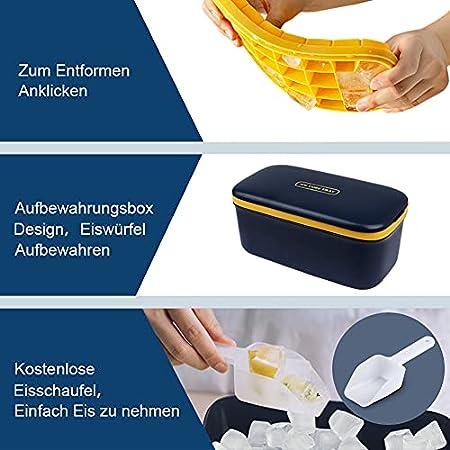 DIAOPROTECT - Molde para cubitos de hielo de doble capa, silicona, con tapa, pala