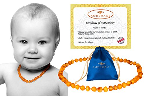 Baltic Amber Baby Teething Necklaces (Unisex) Anti Flammatory, Drooling & Teething Pain Reduce Properties, Certificated Baroque Beads (unpolished honey),Quality Guaranteed