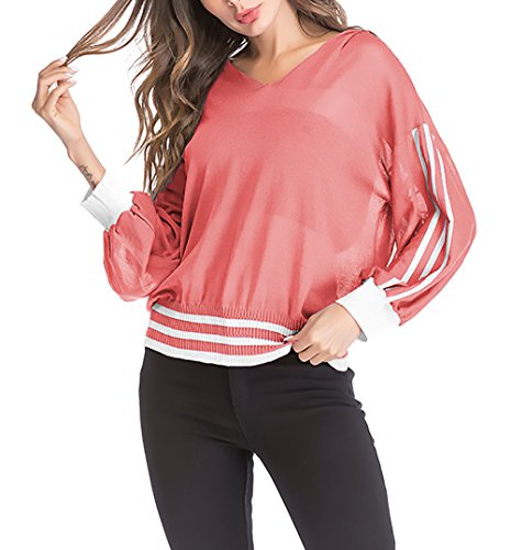 Fashion Baggy Grazioso Shirts Bluse Neck A Maniche Camicia Autunno Ragazze Trasparente Rosso Magliette V Camicetta Primaverile Lunghe Donna Eleganti Tops UwqgZ6f