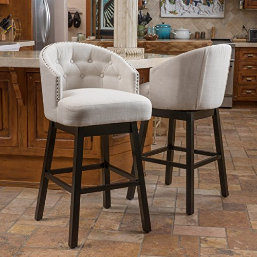 Westman Swivel Bar Stools | Full Backed | Button Tufted | Fabric in Beige (Set of 2) (Stool Swivel Upholstered)