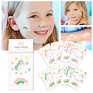 Unicorn Temporary Tattoos for Kids – Unicorn Party Favors, Birthday Decorations and Supplies – Non-toxic and Waterproof – Pack of 16 sheets (32 Fake Tattoos)