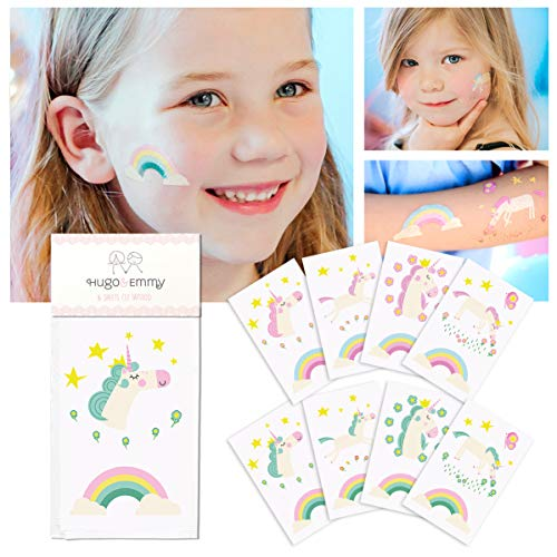 Unicorn Temporary Tattoos for Kids - Unicorn Party Favors, Birthday Decorations and Supplies - Non-toxic and Waterproof - Pack of 16 sheets (32 Fake Tattoos) ()