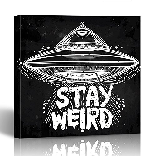 Emvency Canvas Prints Square 12x12 Inches Alien Stay Weird Lettering Inspirational Quote Ufo Graphic Tattoo Martian Paranormal Decoration Wooden Frame Pictures Framed Wall Decor by Emvency