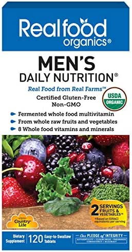 Country Life Realfood Organics Men's Daily Nutrition, 120 Tablets, Wholefood Multi-Vitamins and Minerals Supplement, Easy to Swallow, Non-GMO, Gluten-Free