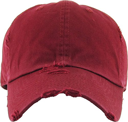 cc6b43a5 KBETHOS Vintage Washed Distressed Cotton Dad Hat Baseball Cap Adjustable  Polo Trucker Unisex Style Headwear (Vintage) Maroon Adjustable