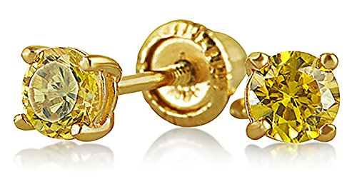 (Tiny Cubic Zirconia Canary Yellow Simulated Citrine CZ Round Solitaire Stud Earrings Real 14K Yellow Gold Screwback)