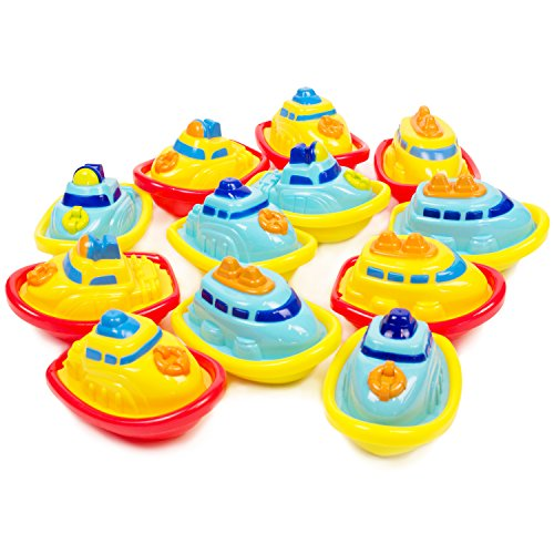 Boley 12 Pack Bath Boats Bath Toy for Toddlers to Make Bath Time Even More Fun- Awesome Party Favor for Birthdays, Baby Showers, and More. Great for The Bathtub, Beach, or Pool!