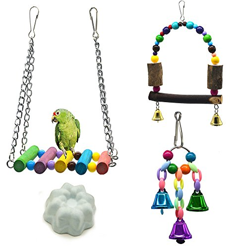 Bird Swing Toys,Bird Hammock Ladder,Wooden Bird Cage Hammock Swing Toy for Cockatiels, Budgie, Conures, Macaws, Parrots, Love Birds, Finches(4 Pack) by MoYag