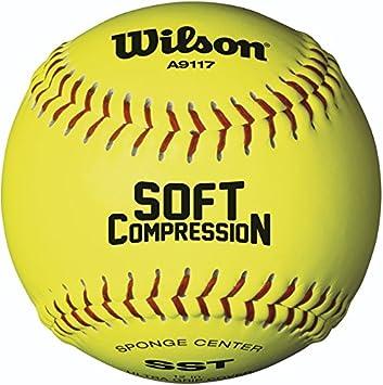 Wilson A9117 - Softball de compresión (12 Unidades), WTA9117B, Optic Yellow, 30,48 cm (12 Pulgadas)