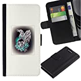 UPPERHAND ( Not For Regular Xperia Z1 ) Stylish Image Picture Black Leather Bags Cover Flip Wallet Credit Card Slots TPU Holder Case For Sony Xperia Z1 Compact D5503 - bird prey hawk skull poster white
