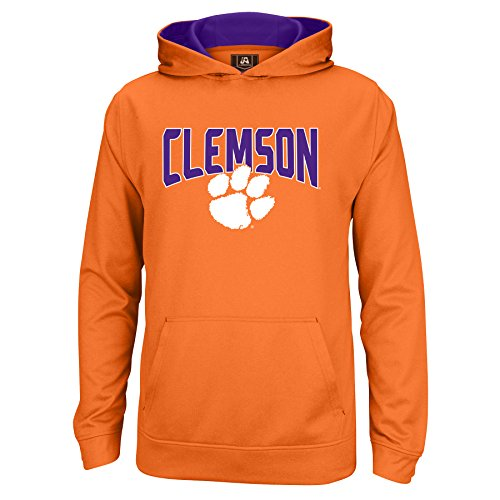 J America NCAA Clemson Tigers Youth Foundation Poly Hoodie, Medium, Orange/Purple (Sweatshirt Clemson Orange Tigers)