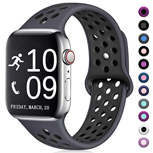 Zekapu Compatible with Apple Watch Band 38mm 40mm, for Women Men, M/L, Breathable Silicone Sport Replacement Band Compatible with iWatch Series 5/4/3/2/1, Gray/Black