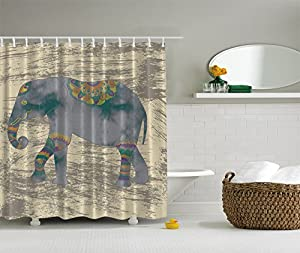 Elephant Shower Curtain Animals Decor Boho By Ambesonne, Ethnic Indian  Bohemian Hippie Grunge Design Theme Accessories Fabric For Bath Set , 69 X  70 Inch ...