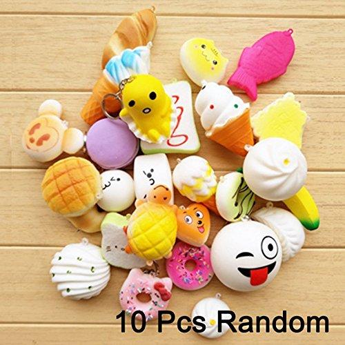 Mae Mali 10Pcs Random Squishies Cream Scented Slow Rising Kawaii Kids Toy (Yummy Zombie Mask)