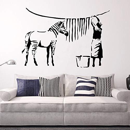 84x57cm,Wall Stickers,Wall Tattoo Art, Zebra Stripe Washing Lady Street Graffiti Wall Painting -