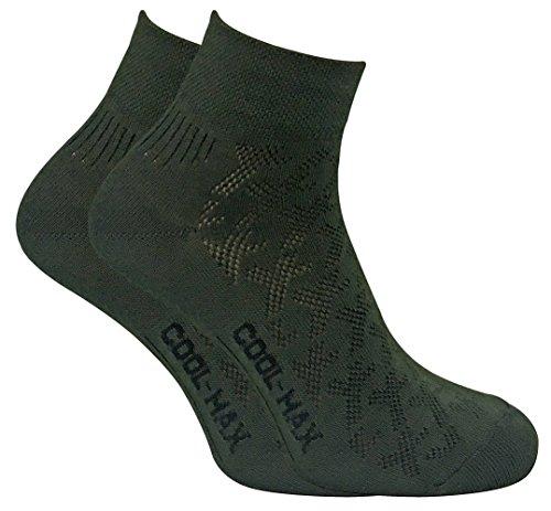 2 Pack Mens Coolmax Breathable Lightweight Ankle Quarter Hiking Socks for Summer (13-15 US, DHC-N)