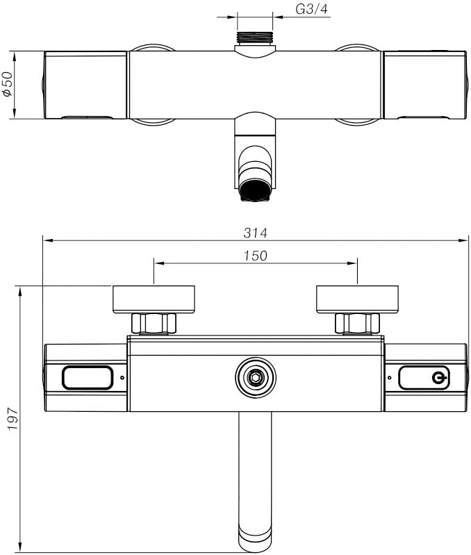 gaixample.org Hausbath Chrome Thermostatic Shower Mixer Modern ...