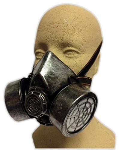 [Silver Steampunk Gas Mask Adult Biohazard Respirator Cosplay Costume Accessory] (Biohazard Costumes)