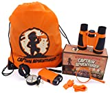 Outdoor Explorer Kit for Adventure Kids | Toys Binoculars, Flashlight, Compass, Magnifying Glass, Whistle & Backpack. Summer Kidz Gift Set for Boys & Girls, Camping, Hiking, Educational & Pretend Play