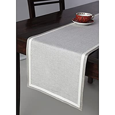 Solino Home Partito Linen Table Runner - 100% Pure Natural Fabric Handcrafted from European Flax - 14 x 90 Inch Textured Natural Table Runner - Made from 100% European Flax Size - 14 x 90 Inch Easy Care - Machine Washable, Low Iron as Needed - table-runners, kitchen-dining-room-table-linens, kitchen-dining-room - 51OR4qLOPsL. SS400  -