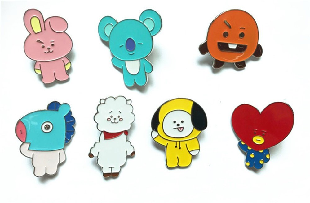 PunkStyle BTS Bangtan Boys Enamel Brooches Pins for Children Women Girls Clothing Bags Backpacks Jackets Decor