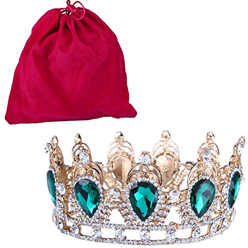Stuff Clear Rhinestone Teardrop Crown Tiaras Gold Plated Bouquet Headband (Green And Gold Costume Jewelry)