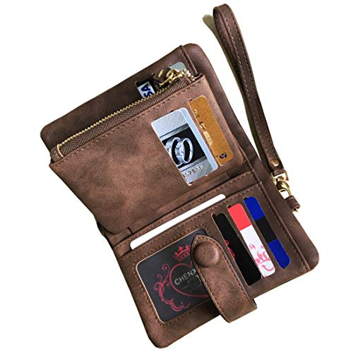 Women's Small Bifold Leather wallet Rfid blocking Ladies Wristlet with Card holder id window Coin Purse (Brown) ()