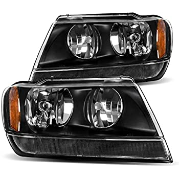 AUTOSAVER88 99 00 01 02 03 04 Jeep Grand Cherokee Headlight Assembly,OE Projector Headlamp,Black housing,One-Year Limited Warranty(Pair,CH2502121/CH2502138/CH2503121/CH2503138)