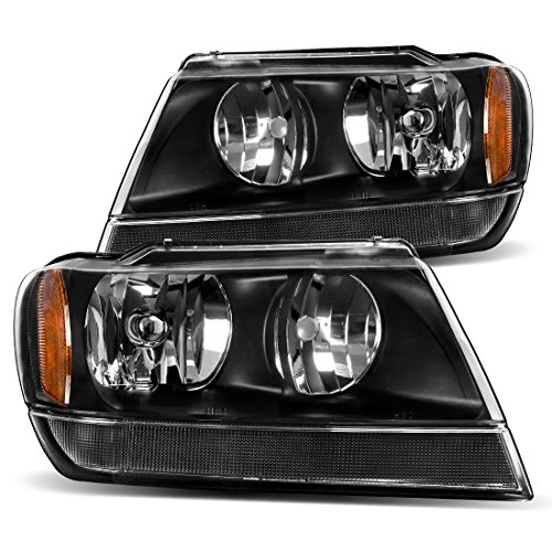 For 1999 2000 2001 2002 2003 2004 Jeep Grand Cherokee Headlight Assembly,OE Headlamp Black Housing,One-Year Limited Warranty(Driver and Passenger Side)