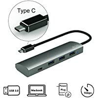 Vetap USB C type c hub Aluminum charger Adapter for MacBook/ ChromeBook Pixel and More Type-C Devices, 1 USB 3.1 Type-C and 3 USB 3.0 Type-A ,Supports charging by DC