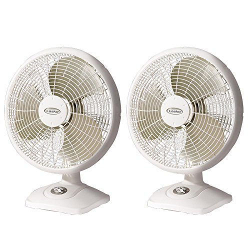 Lasko 16 Inch Performance 3 Speed Portable Oscillating Table Fan, White (2 Pack)