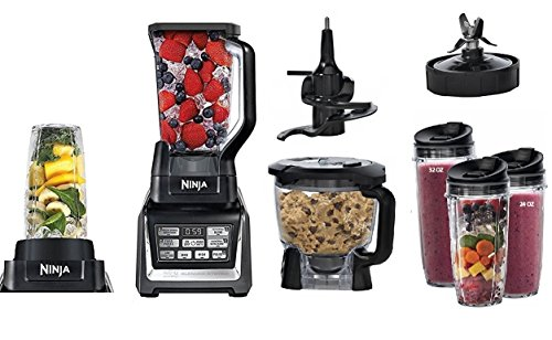 Nutri Ninja Mega 1500 Watts Kitchen System, Blending and Food Processing, 1 Base 2 Functions Auto-iQ Technology