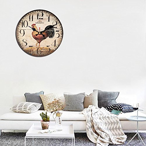 ShuaXin 16 Inch Primitive Country Rustic Rooster Clock Quartz Movement Silent Non-Ticking Wooden Wall Clocks for Kitchen Study Office Room Decorations (R05)
