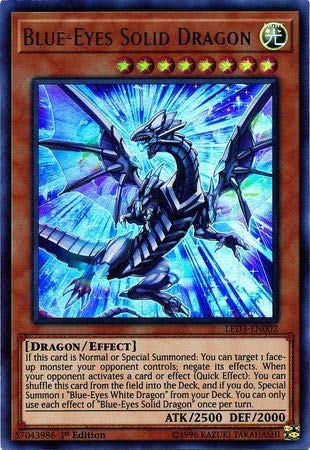 Blue-Eyes Solid Dragon - LED3-EN002 - Ultra Rare - 1st Edition ()