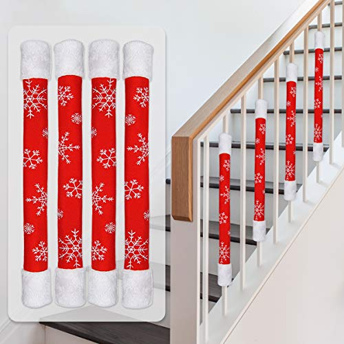 Ivenf Set of 4 Embroidered Snowflake Fleece & Faux Fur Stair Rails Cover, Also for Very Thin Fridge Door Handles, Traditional Christmas Decorations Gifts for Home Kitchen