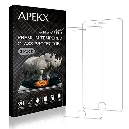APEKX Tempered Glass Screen Protector for iPhone 6S Plus /iPhone 6 Plus 2 Pack