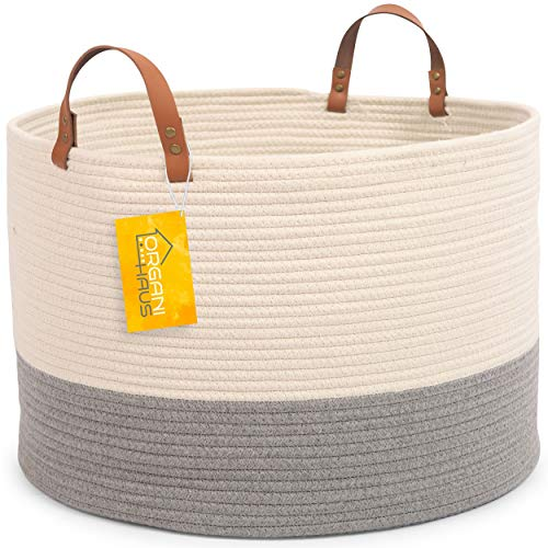 (OrganiHaus XXL Extra Large Cotton Rope Basket w/Real Leather Handles | Wide 20