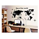 Best Quality Adhesive Rooms Walls Vinyl DIY Stickers / Murals / Decals / Tattoos With Black Map of The World / Globe With Landmarks / Famous Buildings Designs By VAGA