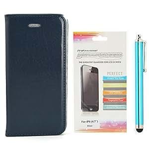 Apexel - cartera elegante carcasa con lápiz stylus capacitivo, y HD protector de pantalla, cuero de la PU para el iPhone 6 Plus de 5,5 pulgadas, negro, azul oscuro, el 14 * 7.3 * 1.7