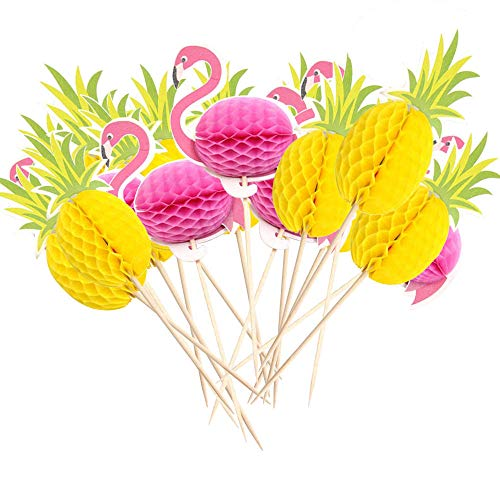 Delicious Pineapple Cake - 50 Pcs 3D Flamingo Pineapple Cake Toppers,DIY Cakes Decoration, Flamingo Tropical Summer Hawaii Party Decors for Birthday,Wedding,Baby Shower