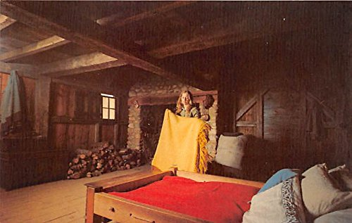 Making a bed in the Myles Standish House Plimoth Plantation Plymouth Massachusetts Postcard (Plymouth Bed)