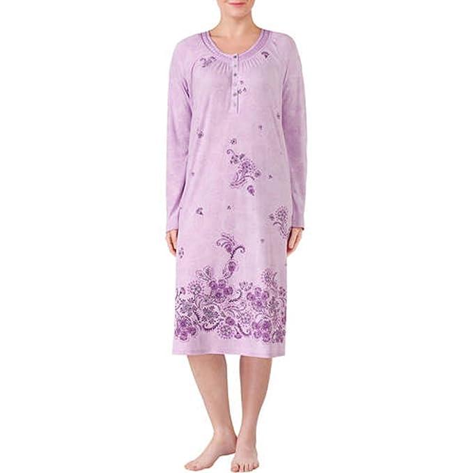 Secret Treasures Women\'s Long Sleeve V-Neck Fluid Knit Sleep Gown ...