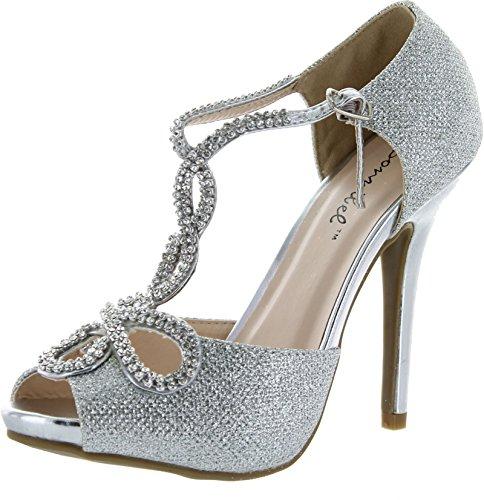 Bonnibel Womens Tiara-2 Stiletto Heel Glitter Evening Wedding Promo Sandals Shoes,Silver,7.5
