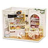 DIY Miniature Dollhouse Kit, Dollhouse Wooden Furniture Kit,1:24 Scale Creative Doll House Toys with Dust Proof Cover and LED Light(Cake Diary)