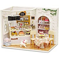 Cute Room DIY Miniature Dollhouse Kit with Furniture,Wooden Doll House Kit Plus Dust Cover & LED Lights,1:24 Scale DIY…