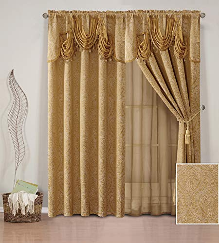 (Elegant Home Window Curtain Drapes All-in-One Set with Valance & Sheer Backing & Tassels for Living Room, Bedroom, Dining Room, and Sliding Doors - Nina (Gold))