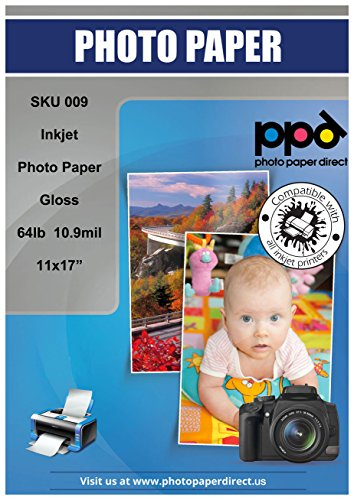 Glossy Inkjet Heavyweight (PPD Inkjet Glossy Heavyweight Photo Paper 11x17'' 64lbs. 240gsm 10.9mil x 50 Sheets (PPD009-50))