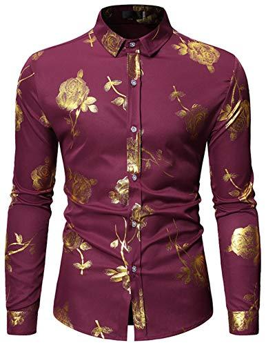 (HOP Fashion Mens Rose Print Shirt Luxury Gold Design Long Sleeve Slim Fit Button Down Shirts HOPM334-Wine-L)